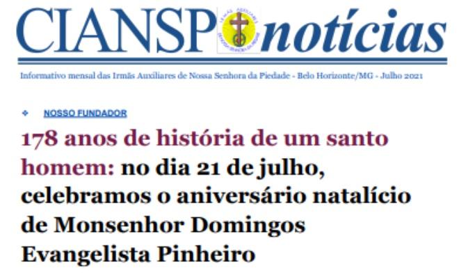 CIANSP Notícias: Reportagem destaca citação de Dom Pedro II sobre Monsenhor Domingos